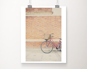 red bicycle photograph, Cambridge print, travel photography, wanderlust art, Europe photograph, red bike print
