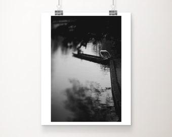 black and white Cambridge photograph, River Cam photograph, punting print, boat photograph, dark art, vertical Cambridge print