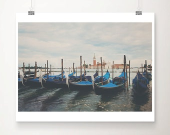 Venice gondolas sunrise photograph, Italian travel print, San Giorgio Maggiore photograph, Venice decor, Gondola photograph