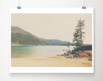 Lake Tahoe photograph, California mountains print, Sand Harbor print, wilderness art, living room decor