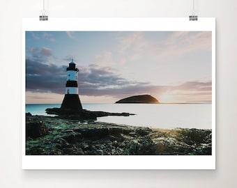 penman point print, lighthouse photograph, Anglesey sunrise print, Wales photograph, ocean print, large wall art, nautical decor