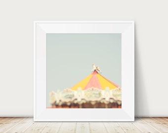 vintage carousel photograph, carnival decor, nursery wall art, merry go round print, English seaside print, large wall art, pastel decor
