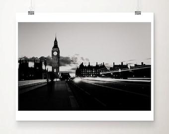 black and white London photograph, Big Ben print, London decor, London at night print, Westminster Bridge photograph