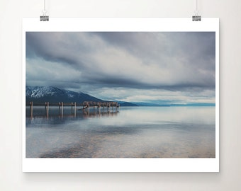 Lake Tahoe sunrise photograph, California mountains print, Lake Tahoe pier print, travel photography