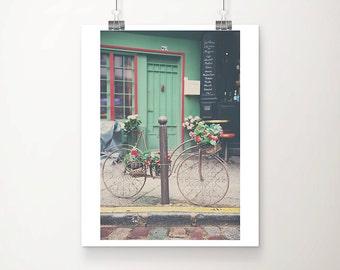 vintage bicycle photograph, Paris photography, green door photograph, Paris decor, Paris street, Paris left bank, French decor