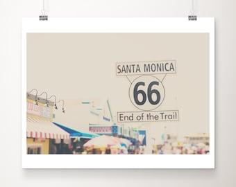 route 66 photograph, Santa Monica pier print, California print, travel photography, west coast decor, large wall art, Americana decor