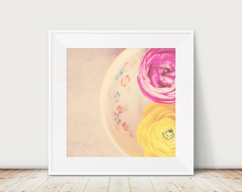 pink ranunculus photograph yellow flower photography still life photograph yellow ranunculus print pink flower print floral print