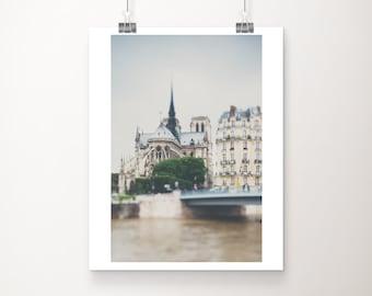 Paris photography, Notre Dame print, Paris decor, vertical Paris print, Ile De Cite photograph, travel photography, Paris architecture print