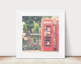 red telephone box photograph, red bicycle photograph, Cambridge print, English decor, England photograph