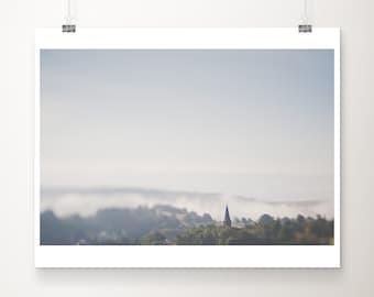 church photograph, German architecture print, Germany print, rural Germany art, large wall art, farmhouse decor, blue decor