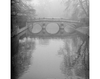 SALE cambridge photograph, film photography, black and white photograph, river cam, punt photograph, discounted 8x10 print