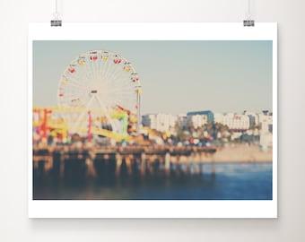 Santa Monica pier photograph, California print, Ferris Wheel print, carnival decor, Pacific Ocean print, mint green decor, large wall art