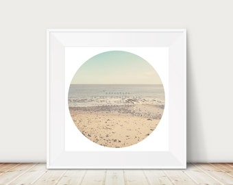 SALE circle beach photograph, discounted inspirational quote art, 12x12 ocean print