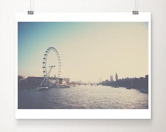London photograph, River Thames print, London Eye print, Big Ben photograph, travel photography, London decor, large wall art
