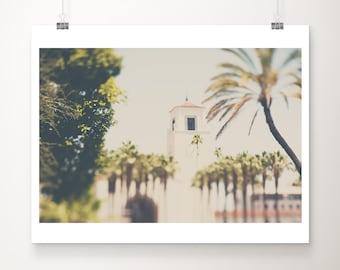 Los Angeles print, Union Station print, palm tree photograph, Los Angeles decor, California photograph, LA architecture print