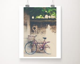 red bicycle photograph, Cambridge print, large wall art, vertical bike print, travel photography, wanderlust art, Cambridge University
