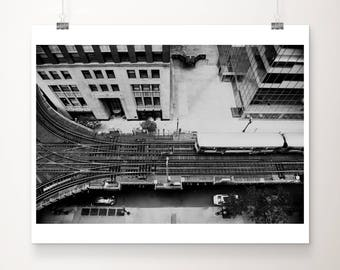 black and white Chicago print, Chicago L train photograph, Aerial Chicago print, urban decor, downtown Chicago photograph