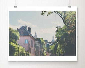 Paris print, Montmartre photograph, pink Paris decor, Rue de l'Abreuvoir photograph, travel photography, wanderlust art, Paris photograph