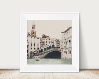Venice photograph, Rialto Bridge print, Venice Grand Canal photograph, square Venice print, Venice decor, travel photography