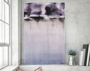 Abstract Painting Canvas Modern Purple Original Acrylic Stretched Art 36x24 Day Minimalist Art, 36x24 by Heather Day Paintings