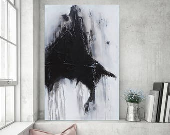 Textured Painting, Minimalist Painting, Black White Painting, Abstract Painting, Sculpted Painting, Original Painting, Heather Day, 36x24