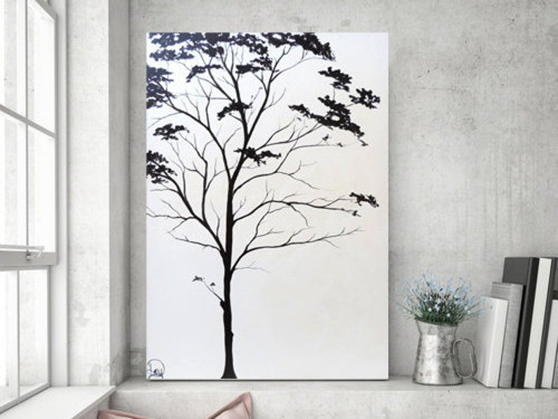 Minimalist Black And White Tree Painting On Canvas Large Abstract Original Modern Wall Decor Shabby Chic Bathroom Wall Art 36x24 Heather Day