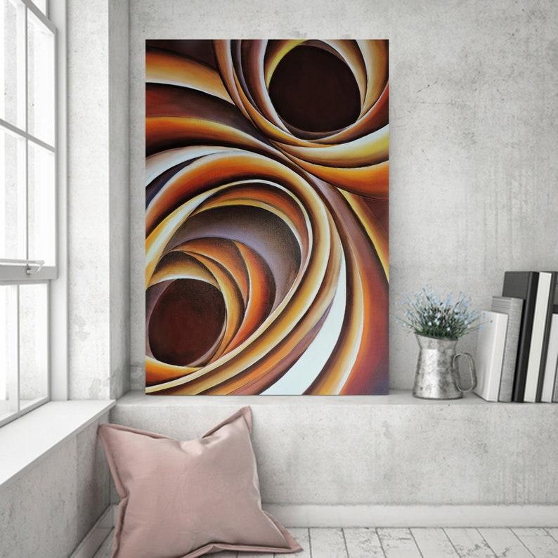 Large Wall Art Acrylic Painting Abstract Printable Wall Art Circle Art Digital Downloadable Prints Abstract Orange Purple Swirl Painting Day