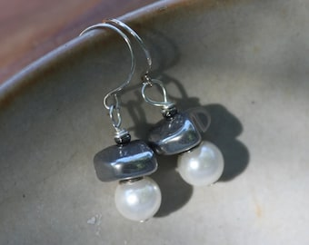 Black and White Simplicity Earrings Pearls Hematite on Sterling Silver