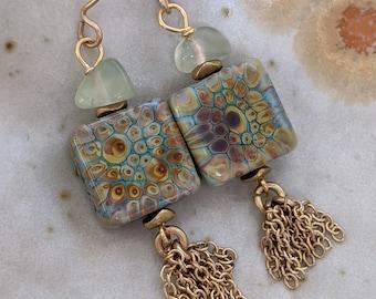 dangle and drop earrings Purple jasper rainbow stones captured in gold