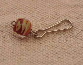 Purse or Zipper Dangle / Brick Red Taupe Twist Lampwork Bead on Silver