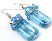 Items Similar To Light Blue Earrings Polka Dot And Light