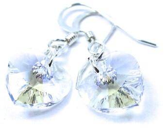 Swarovski Crystal Moonlight Heart Earrings, Free US Shipping
