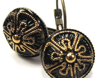 Gold and Black Czech Glass Button Earrings, Free US Shipping