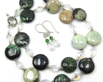 Green Jasper and Chinese Crystal Necklace and Earring Set, Free US Ship