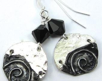 Jet Black Swarovski Crystal and Silver Swirl Art Metal Earrings, Free US Shippimg