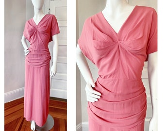 Vintage 1930s Rose Pink Crepe Peplum Dress size Large XL Plus