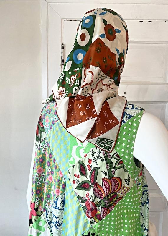 Vintage 1960s Patchwork Hippie Tent Dress size Sm… - image 8