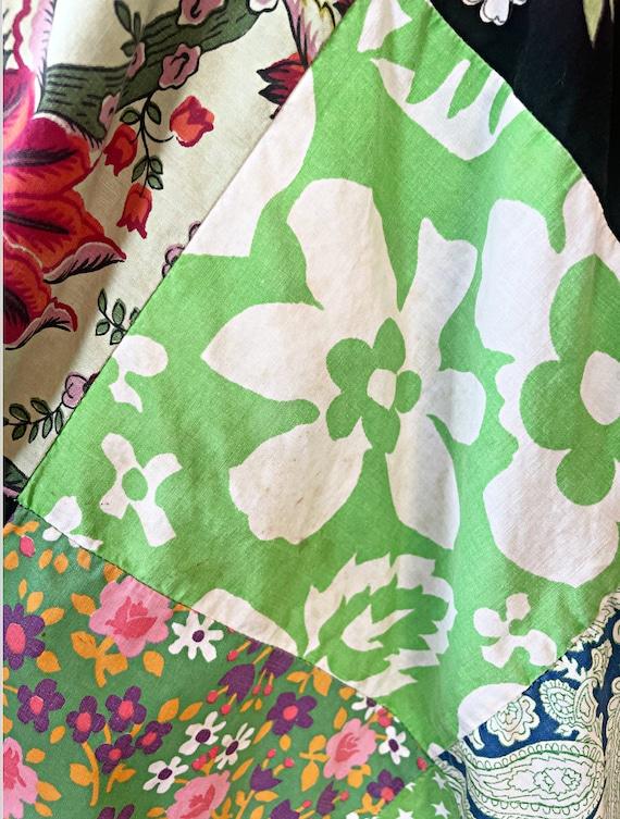 Vintage 1960s Patchwork Hippie Tent Dress size Sm… - image 10
