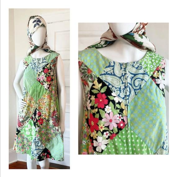 Vintage 1960s Patchwork Hippie Tent Dress size Sm… - image 1