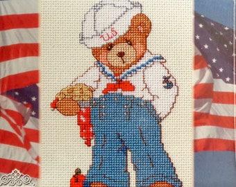 Cross Stitch Kit | Cherished Teddies | Around The World | BOB | USA | Priscilla Hillman | Janlynn | Cross Stitch Pattern