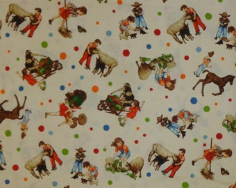 Cotton Fabric | PEAS & CARROTS | American Jane | Sandy Klop | Moda | Vintage | Children | Animals | Quilting | BTY | By The Yard