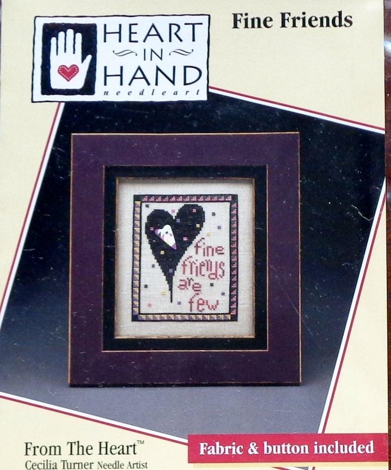 Cross Stitch Pattern Counted Cross Stitch Pattern Fabric FINE FRIENDS Button Heart In Hand Mini Chart Wee One Cecelia Turner