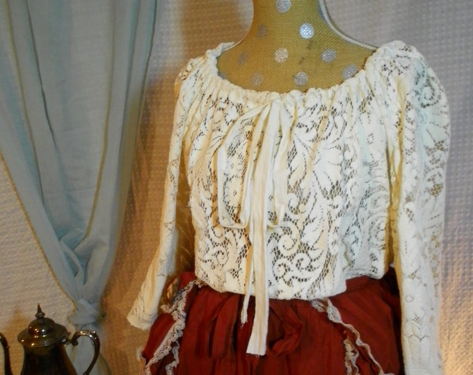 Featured listing image: Edwardian Lace overlay long sleeve steampunk victorian shirt