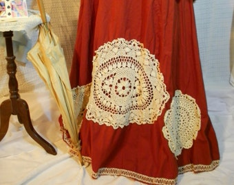 A Red Queens edwardian steampunk victorian with train shabby copper skirt