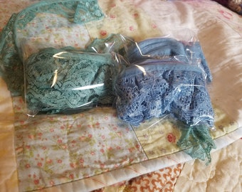 2 yard lengths of vintage lace, in dusty blue or muted green.