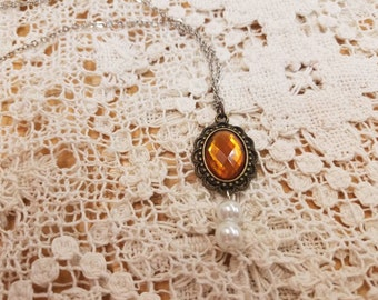 Autumn stone filigree necklace with pearl #2