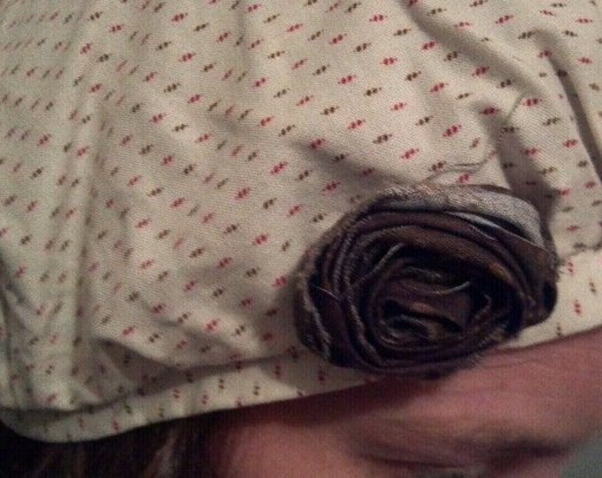 shabby chic cottage style cream and brown frumpy hat with rose
