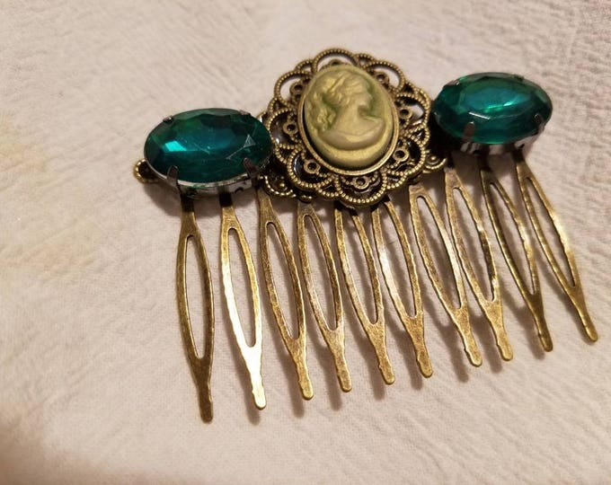 Featured listing image: Elegant Sage Cameo green beaded hair comb