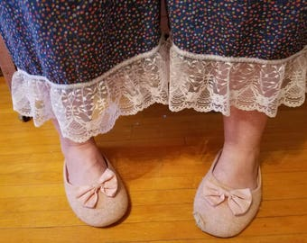 Vintage sack bloomers with lace edge.