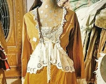 Stagecoach Riding Jacket, Bronze lined Balero, eyelet and wide lace, Victorian Jacket, edwardian jacket, period style coat, antique lace